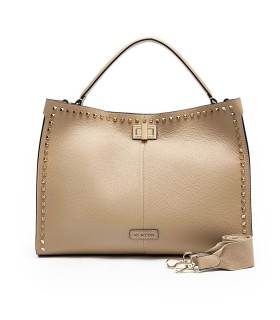 LA CARRIE STUDS SILVIE TAUPE HANDBAG WITH GOLD STUDS