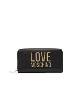 LOVE MOSCHINO BLACK LARGE WALLET WITH GOLD LOGO