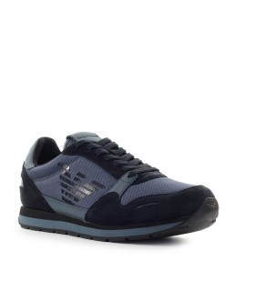 EMPORIO ARMANI BLUE SNEAKER WITH LOGO