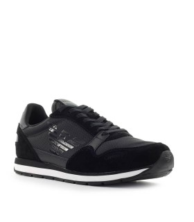 EMPORIO ARMANI BLACK SNEAKER WITH LOGO