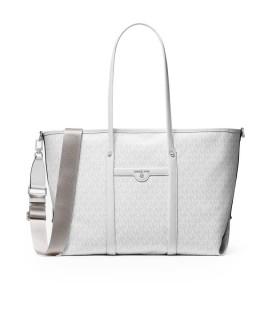 MICHAEL KORS BECK WHITE LARGE SHOPPING BAG