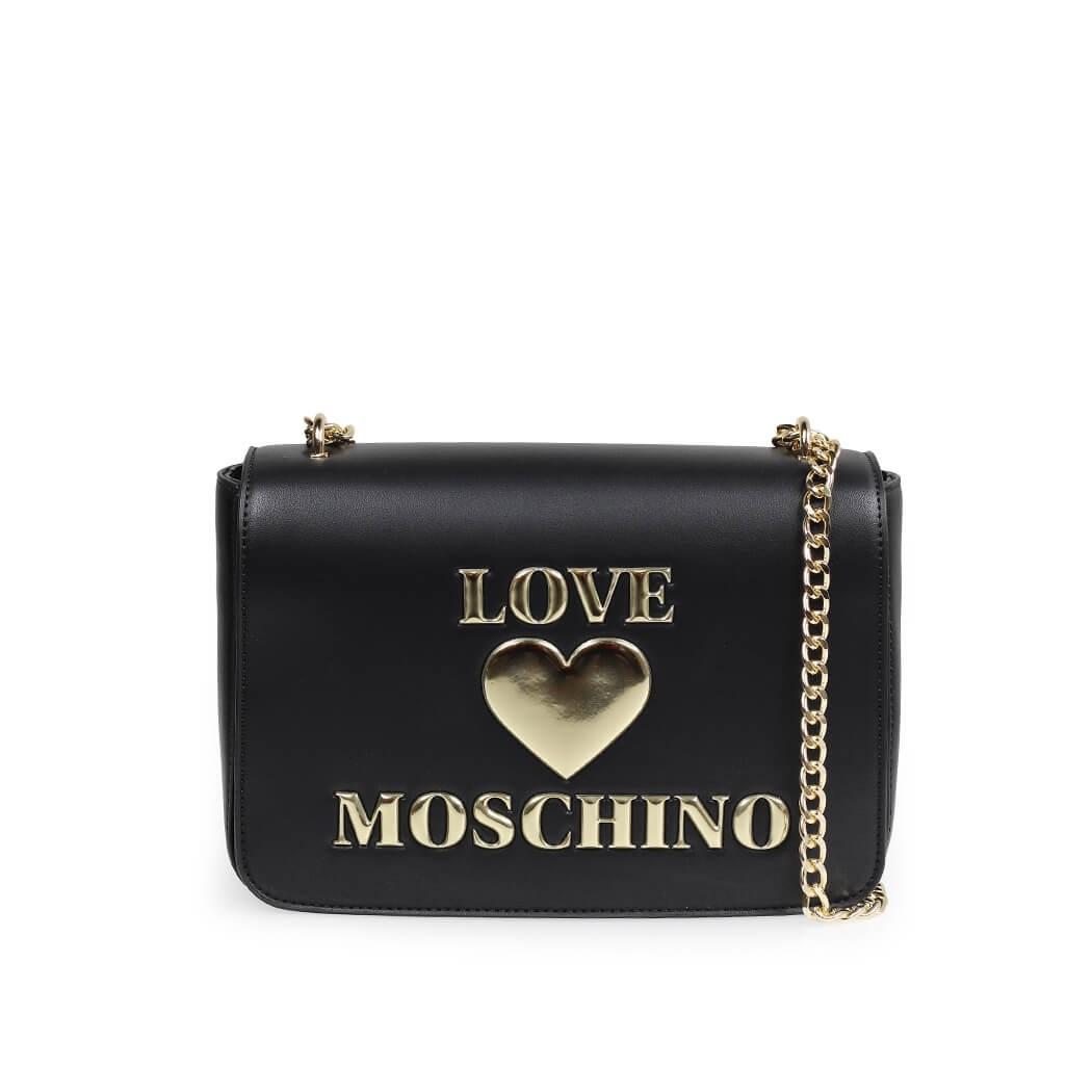 LOVE MOSCHINO BLACK LARGE CROSSBODY BAG WITH LOGO