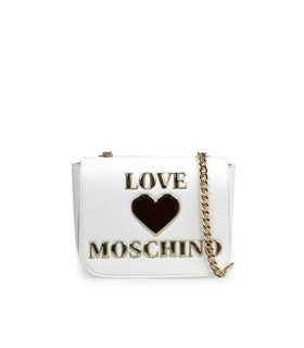 LOVE MOSCHINO WHITE MEDIUM CROSSBODY BAG WITH LOGO