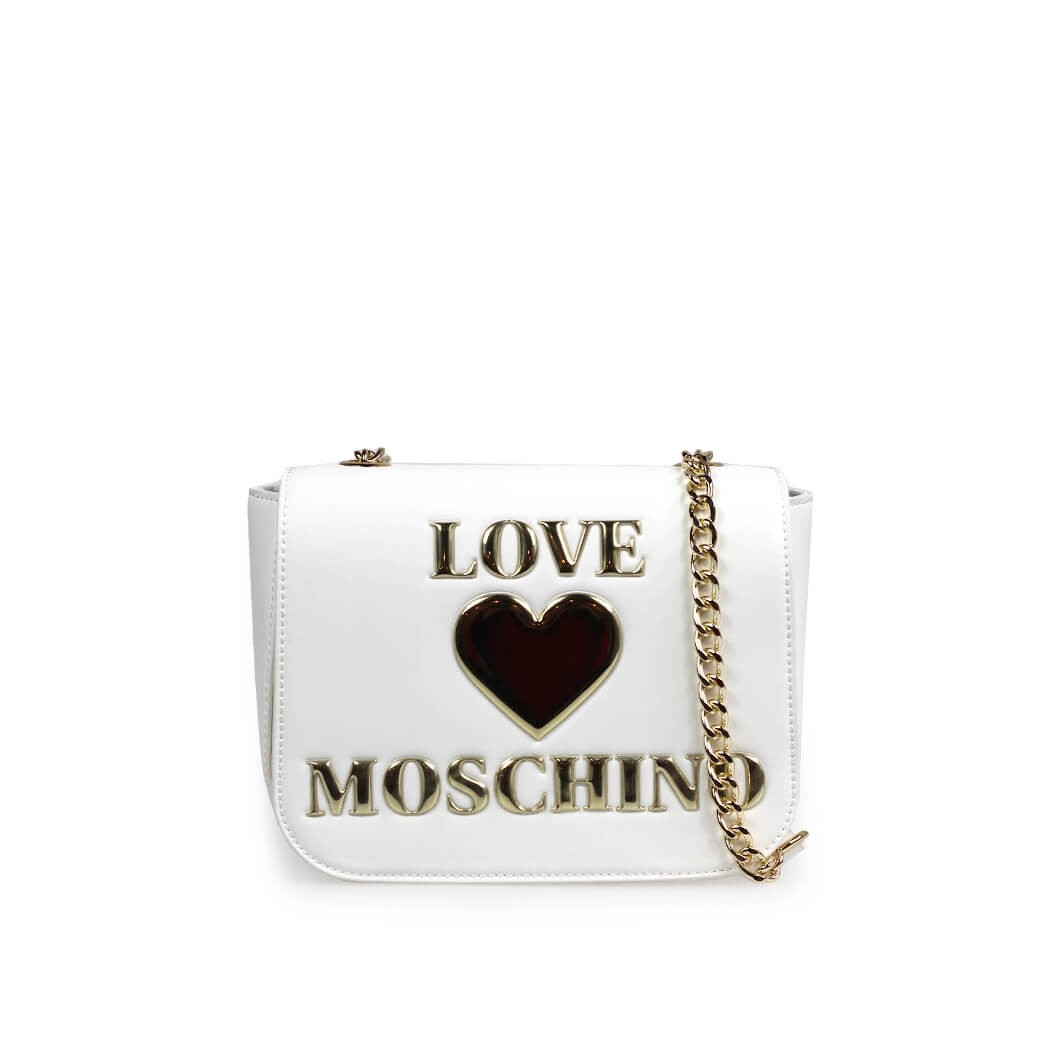 LOVE MOSCHINO WHITE MEDIUM CROSSBODY BAG WITH LOGO