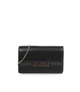 LOVE MOSCHINO BLACK NAPPA CLUTCH WITH STUDS