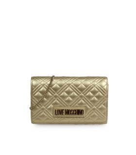CLUTCH QUILTED NAPPA ORO LOVE MOSCHINO