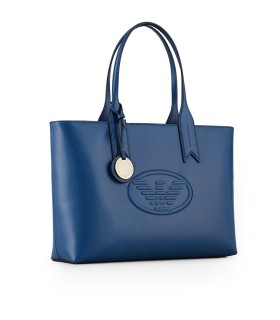 EMPORIO ARMANI ELECTRIC BLUE SHOPPING BAG WITH LOGO