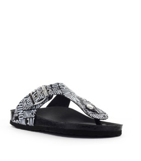 LOVE MOSCHINO BLACK WHITE FLIP FLOPS