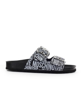 CHANCLA NEGRO BLANCO LOVE MOSCHINO