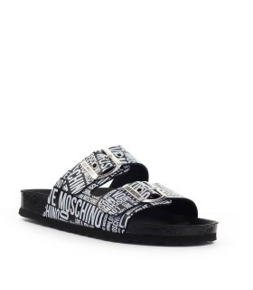 LOVE MOSCHINO BLACK WHITE SLIDE