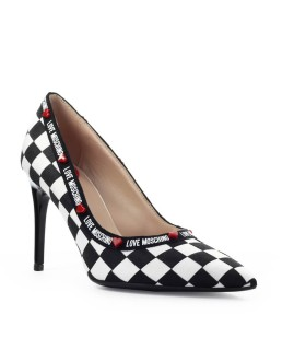 LOVE MOSCHINO BLACK WHITE CHECKERED PUMP