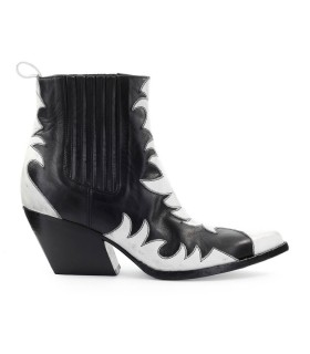 ELENA IACHI BLACK WHITE LEATHER TEXAN ANKLE BOOT