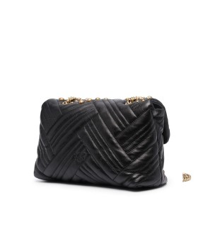 PINKO LOVE CLASSIC PUFF WOVEN STUDS BLACK CROSSBODY BAG