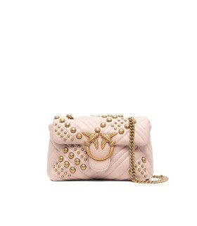 PINKO LOVE MINI PUFF WOVEN STUDS SOFT PINK CROSSBODY BAG