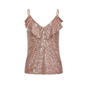 PINKO ASSENTE ROSE GOLD SEQUINS TOP