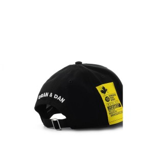 CAPPELLO DA BASEBALL NERO PATCH GIALLO DSQUARED2