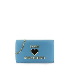 LOVE MOSCHINO LIGHT BLUE CLUTCH WITH LOGO