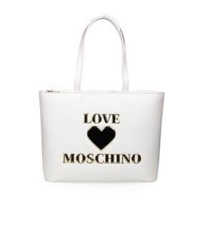 LOVE MOSCHINO WHITE SHOPPING BAG WITH LOGO