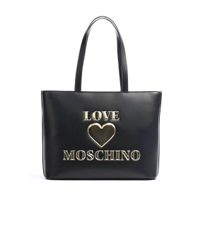 LOVE MOSCHINO BLACK SHOPPING BAG WITH LOGO