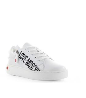 LOVE MOSCHINO WHITE SNEAKER WITH ZIP