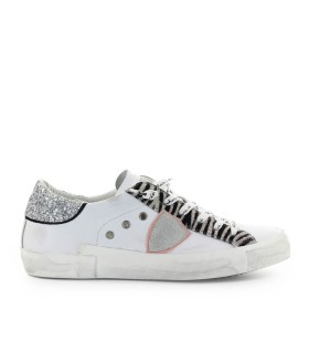 PHILIPPE MODEL PRSX GLITTER ANIMALIER WHITE SNEAKER