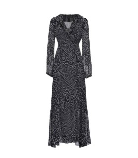 PINKO UMILE BLACK WHITE GEORGETTE LONG DRESS