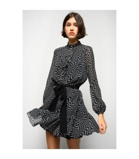 PINKO VIGOROSO BLACK WHITE GEORGETTE SHORT DRESS