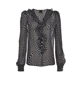 PINKO ASTROMETRIA 3 BLACK WHITE GEORGETTE BLOUSE