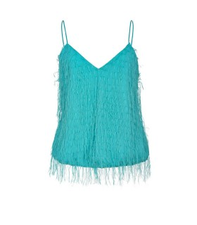 PINKO SFARZOSO AQUA GREEN TOP WITH FRINGES