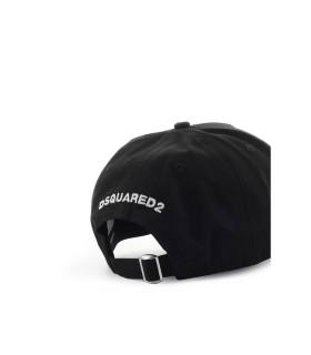 DSQUARED2 LEAF BLACK WHITE BASEBALL CAP