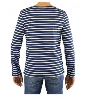 SAINT JAMES MINQUIERS MODERN NAVY BLUE BEIGE LONG SLEEVE SHIRT