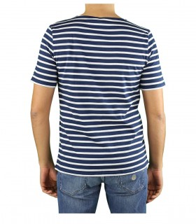 SAINT JAMES LEVANT MODERN NAVY BLUE WHITE T-SHIRT