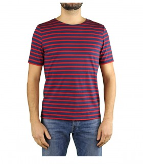 SAINT JAMES LEVANT MODERN MARINEBLAUW ROOD T-SHIRT