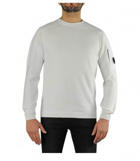 C.P. COMPANY WHITE CREW NECK SWEATER