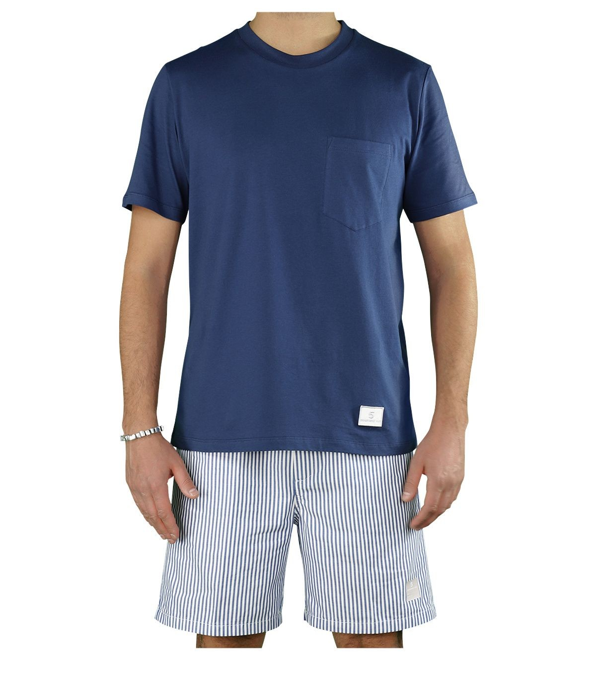 Department 5 Cottons MARTIN NAVY BLUE T-SHIRT WITH POCKET