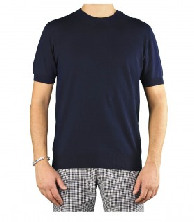 PAOLO PECORA NAVY BLUE CREW NECK SWEATER WITH SHORT SLEEVE