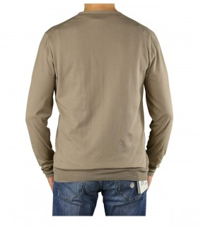 PAOLO PECORA LIGHT BROWN CREW NECK SWEATER