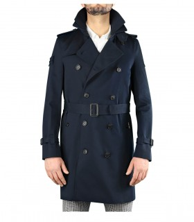 CAPPOTTO TRENCH THE KING CLASSIC BLU NAVY ROSSO TRENCH LONDON