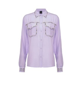 PINKO RILASSATO LILAC SHIRT WITH STUDS