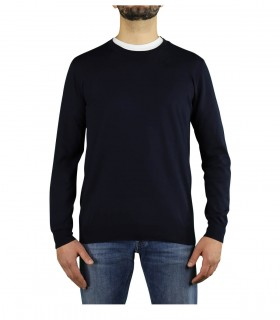 PAOLO PECORA NAVY BLUE CREW NECK SWEATER