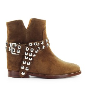 VIA ROMA 15 VELOUR DARK BROWN ANKLE BOOT