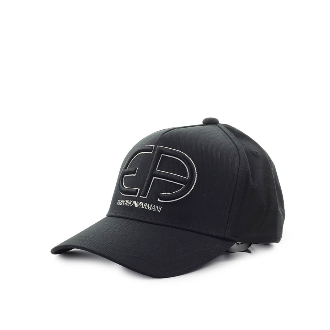 Emporio Armani BLACK BASEBALL CAP WITH MAXI LOGO