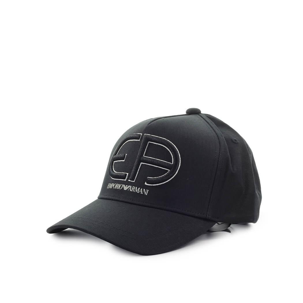 Emporio Armani BLACK BASEBALL CAP WITH MAXI LOGO