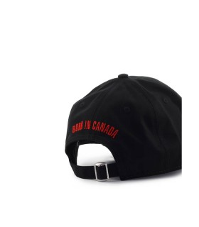 DSQUARED2 D&D RED TAG BLACK BASEBALL CAP