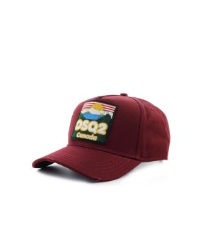 DSQUARED2 DSQ2 CANADA BURGUNDY BASEBALL CAP