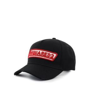 DSQUARED2 ZWART BASEBALL CAP MET ROOD LOGO