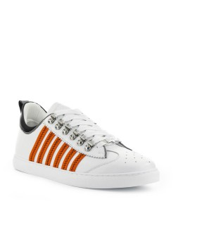 SNEAKER 251 LOW TOP BIANCO ARANCIO DSQUARED2