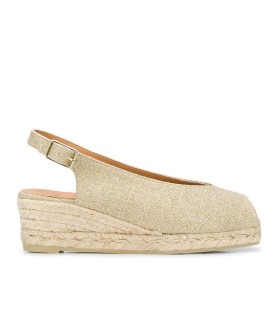 CASTAÑER DOSALIA OPEN TOE GOLD ESPADRILLE WITH WEDGE