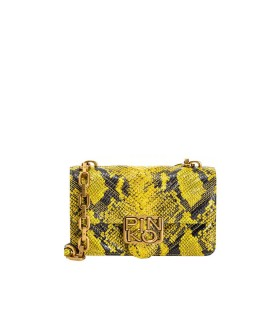 PINKO LOGO MINI ICON EXOTICS YELLOW BLACK CROSSBODY BAG