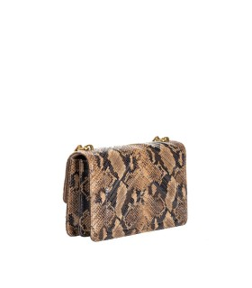 PINKO LOGO MINI ICON EXOTICS BROWN BLACK CROSSBODY BAG